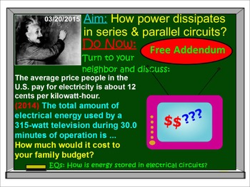 PHYSICS LESSONS: Electricity: Electric Energy & Power  Test Quiz Prep  Worksheets