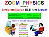 PHYSICS: Accelerated Motion, Acceleration. Graphs Problems Test Prep Worksheets