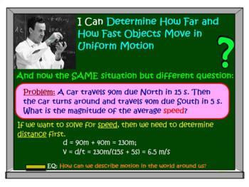 PHYSICS LESSONS: Uniform Motion, Graphs, Problems, Test Quiz Prep Worksheets