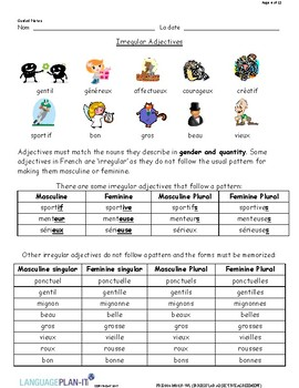IRREGULAR ADJECTIVE AGREEMENT (FRENCH)
