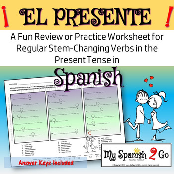 REGULAR PRESENT TENSE STEM-CHANGING VERBS:  A Fun Practice or Review in Spanish