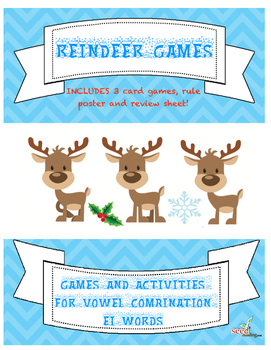 Phonics Games-EI Vowel Team Game and Review-Reindeer Games!