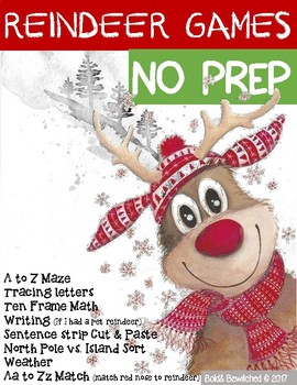 REINDEER Games No PREP Letters Math Writing