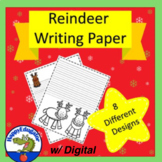 REINDEER  Writing Paper - Lined Paper - Reindeer Theme