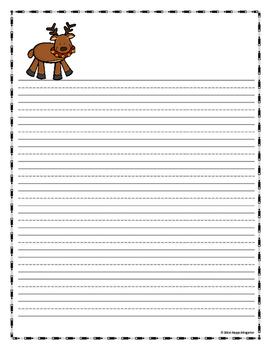 REINDEER  Writing Paper - Lined Paper - Reindeer Theme