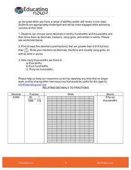 RELATING DECIMALS TO FRACTIONS USING THOUSANDTHS GRIDS