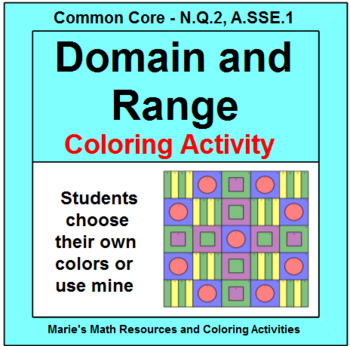 RELATIONS AND FUNCTIONS: - IDENTIFY THE DOMAIN AND RANGE COLORING ACTIVITY # 2