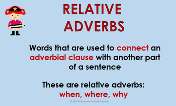 RELATIVE ADVERBS CCSS Aligned 4th Grade Up