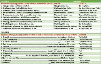 RELATIVE CLAUSE WORKSHEETS WITH ANSWERS