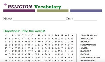 RELIGION  Vocabulary word search