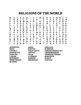 RELIGIONS OF THE WORLD WORD SEARCH