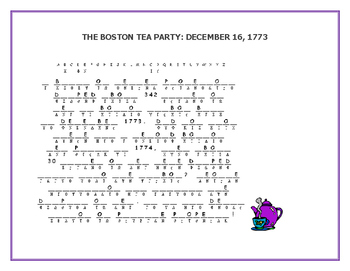 REMEMBER, THE BOSTON TEA PARTY!   A CRYPTOGRAM CHALLENGE (