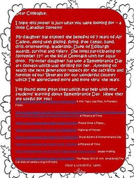 REMEMBRANCE DAY POSTER & VOCAB (in English)