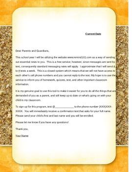 REMIND101 Parent Letter