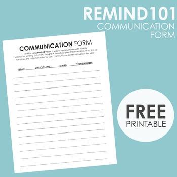 REMIND101 Parent/Teacher Communication Form