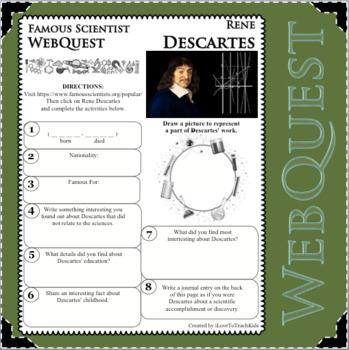 RENE DESCARTES Science WebQuest Scientist Research Project Biography Notes