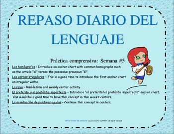 REPASO DEL LENGUAJE DIARIO - Semana #5