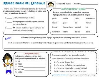 REPASO DEL LENGUAJE DIARIO - Semana #1