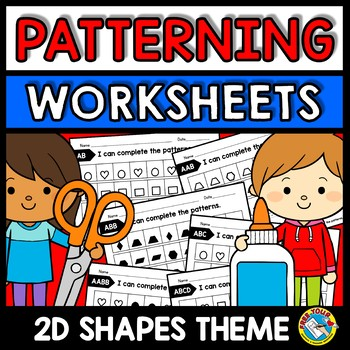 REPEATING PATTERNS WORKSHEETS CUT AND PASTE (SHAPES ACTIVITY KINDERGARTEN)