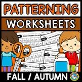 REPEATING PATTERNS WORKSHEETS (FALL ACTIVITY KINDERGARTEN,