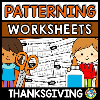 Repeating Patterns Worksheets Thanksgiving Activity Kindergarten