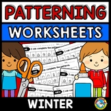 REPEATING PATTERNS WORKSHEETS (WINTER ACTIVITY KINDERGARTE