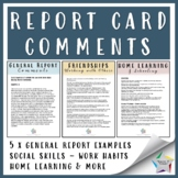 REPORT CARD COMMENTS- GENERAL