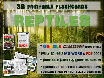 REPTILES - 36 Printable front/back FLASHCARDS