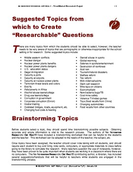 """RESEARCH PAPER (ELA): OPTION #2  –  """"Writing Traditional Research Papers"""""""