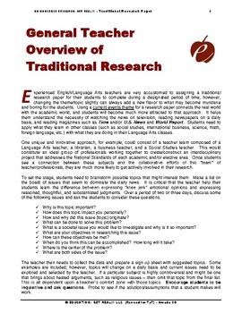 "RESEARCH PAPER (ELA): OPTION #2  –  ""Writing Traditional Research Papers"""