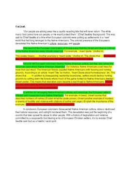 RESEARCH PAPER: OUTLINE and FIRST DRAFT EXAMPLE (Color-Coded)