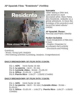 RESIDENTE (Netflix) Film Guide for Spanish Language Arts & AP Spanish