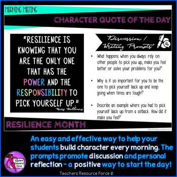 RESILIENCE Character Education Morning Meeting Digital Whiteboard PowerPoint