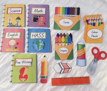 RESOURCE CARDS SCHOOL SUPPLY IMAGES + MATCHING BOOK COVERS