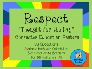 "33 RESPECT ""Thought for the Day"" Character Education Posters"