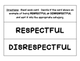 RESPECT sorting center - Sort the situations into RESPECTFUL or DISRESPECTFUL