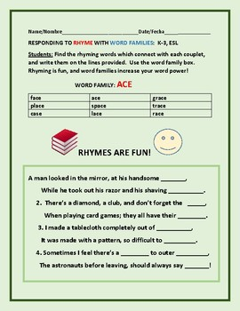 RESPONDING TO RHYMES WITH A WORD FAMILY:K-3, ESL