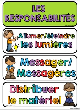 RESPONSABILITÉS et MENU DU JOUR - French Classroom Jobs and Responsabilities