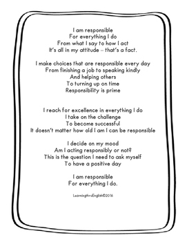 RESPONSIBILITY CHARACTER - ORIGINAL POEM/GRAPHIC ORGANIZERS AND MORE