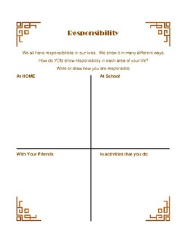 RESPONSIBILITY WORKSHEET ONLY for Horton Hatches Egg PBIS Character Ed
