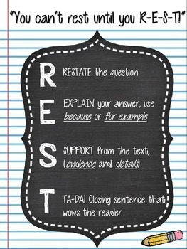 REST Written Response Writing Strategy anchor chart