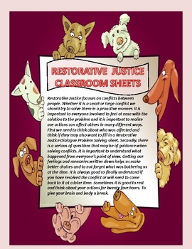 RESTORATIVE JUSTICE CLASSROOM SHEETS:  CUTE DOGS