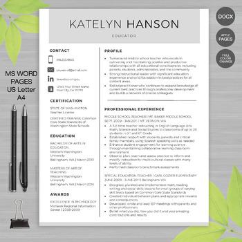 RESUME TEACHER Template For MS Word | + Educator Resume Wr