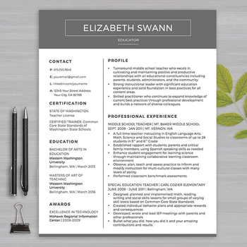 RESUME TEACHER Template For MS Word | + Educator Resume Wr