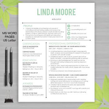 RESUME TEACHER Template For MS Word + Educator Resume Writ