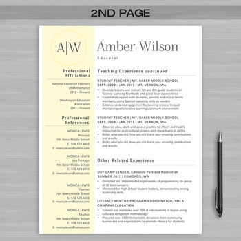 RESUME TEACHER Template For MS Word | + Educator Resume Writing Guide | Amber2