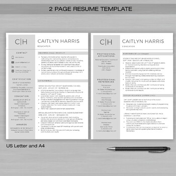 RESUME TEACHER Template For MS Word + Educator Resume Writing Guide CAITYLYN