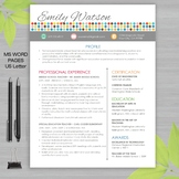 RESUME TEACHER Template For MS Word + Educator Resume Writing Guide DOTS