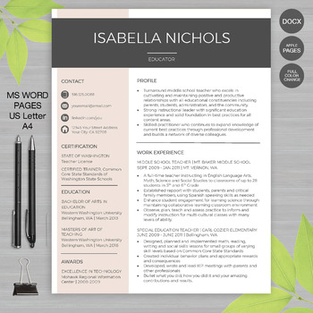 RESUME TEACHER Template For MS Word | + Educator Resume Writing Guide | Isabella