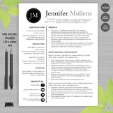TEACHER RESUME Templates MS Word & Pages + Educator Resume Writing Guide JEN_BLK